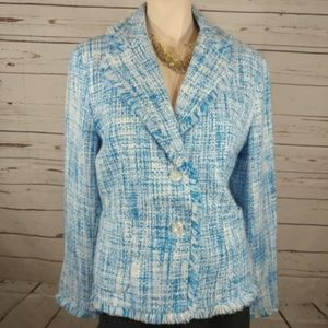 chadwicks blazer size 12 blue and white tweed